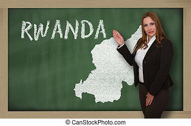 mapa, mostrando, ruanda, professor, quadro-negro