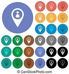 mapa, multi coloró, iconos, plano, miembro, ubicación, redondo, gps