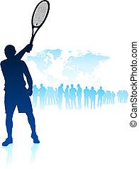 mapa, multitud, jugador del tenis, plano de fondo, mundo