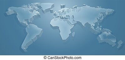 mapa mundial, 3d, fundo