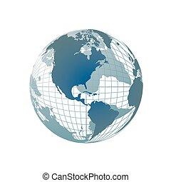 mapa mundial, 3d, globo