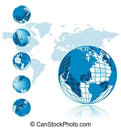 mapa mundial, 3d, globo, série