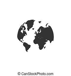 mapa mundial, apartamento, ícone
