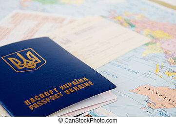 mapa mundial, bilhetes, passaporte