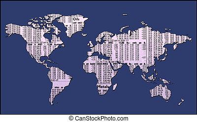 mapa mundial, com, caminho cortante