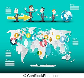 mapa mundial, com, homens negócios, vetorial, infographic, modelo