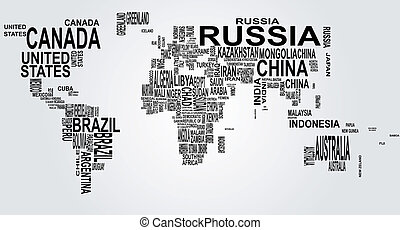 mapa mundial, com, país, nome