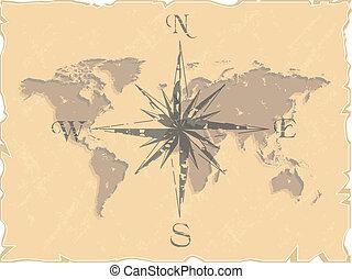 mapa mundial, compasso