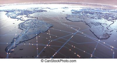 mapa mundial, conectividade
