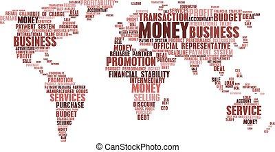 mapa mundial, de, negócio, palavra, nuvem, etiquetas