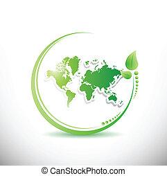 mapa mundial, dentro, um, orgânica, leave., ilustração