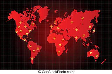 mapa mundial, desperdício nuclear