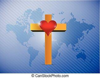 mapa mundial, e, crucifixos, ilustração, desenho
