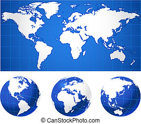 mapa mundial, e, globos
