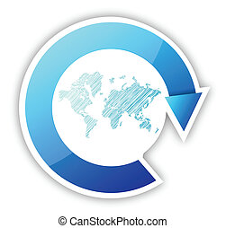 mapa mundial, e, setas, ciclo