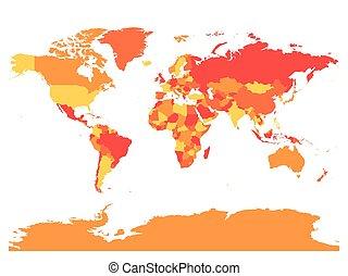 mapa mundial, em, morno, colors., alto, detalhe, em branco, político, map., vetorial, ilustração