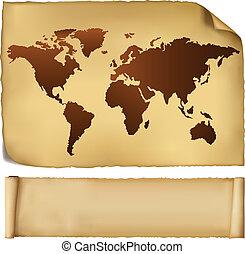 mapa mundial, em, vindima, padrão