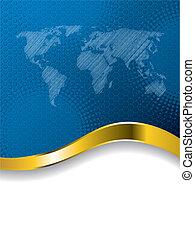 mapa mundial, folheto, azul, halftone, negócio, desenho