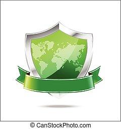 mapa mundial, fundo, branca, proteção, escudo, metal