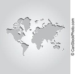 mapa mundial, fundo, cinzento