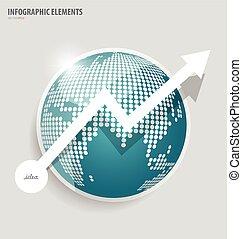 mapa mundial, infographic, com, globo, vetorial, ilustração