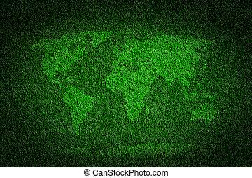 mapa mundial, ligado, grama verde, campo, fundo