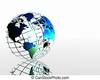 mapa mundial, ligado, grid.