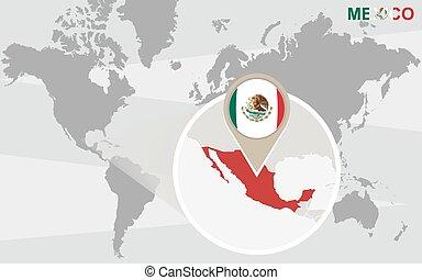 mapa mundial, méxico, ampliado