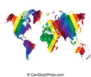 mapa mundial, mosaico, azulejos, abstratos