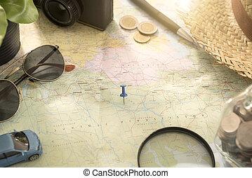 mapa mundial, para, planificação, férias, com, outro, viagem, acessórios, around.