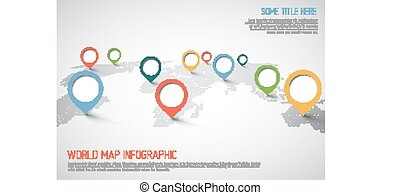 mapa mundial, ponteiro, marcas