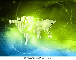 mapa mundial, technology-style