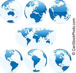 mapa mundial, vetorial, globos, colorido, ilustração