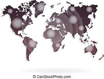 mapa mundial, vetorial, ilustração, ligado, um, branca, experiência.