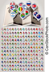 mapa, mundo, 192, marcadores, com, bandeiras