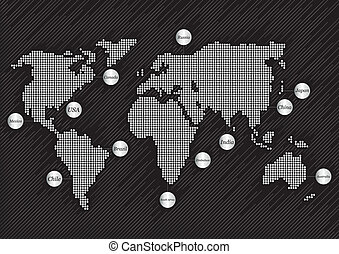 mapa mundo, con, países, plano de fondo