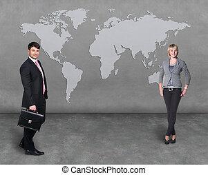mapa, mundo, equipe, pessoas negócio