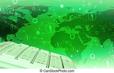 mapa, mundo, fondo verde, teclado