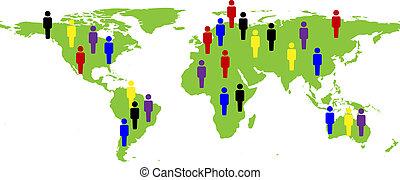 mapa, mundo, ilustração, pessoas