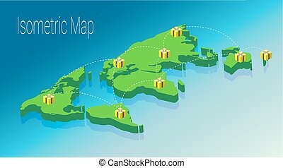 mapa, mundo, isométrico, concept., 3d, plano, ilustración