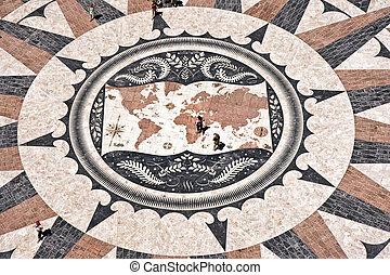 mapa, mundo, mosaico