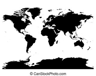 mapa mundo, negro, vector, silhouette., alto, detallado, mapa, blanco, plano de fondo