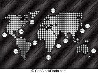 mapa, mundo, plano de fondo, países