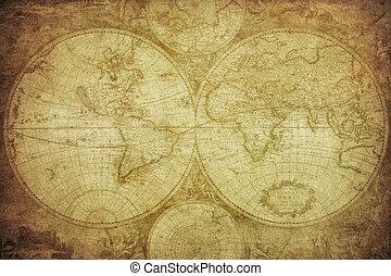 mapa, mundo, vendimia