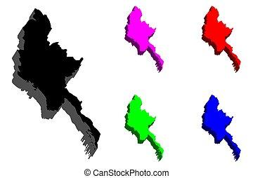 mapa, myanmar, 3d
