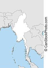 mapa, -, myanmar