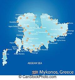 mapa, mykonos, grecia, isla