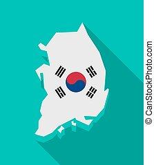 mapa, národnostní, korea, prapor, jih