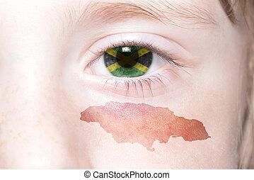 mapa, národnostní, lidský, čelit, prapor, jamaica.