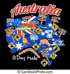 mapa, nação, bandeira austrália, ícones